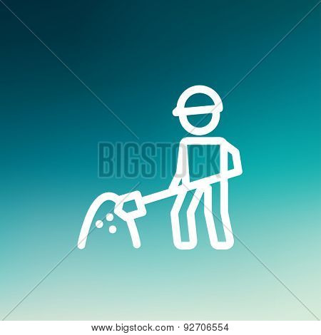 Worker with hard hat and shovel in building site icon thin line for web and mobile, modern minimalistic flat design. Vector white icon on gradient mesh background.