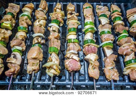 Shish Kebab On Skewers On A Grill On A Holiday