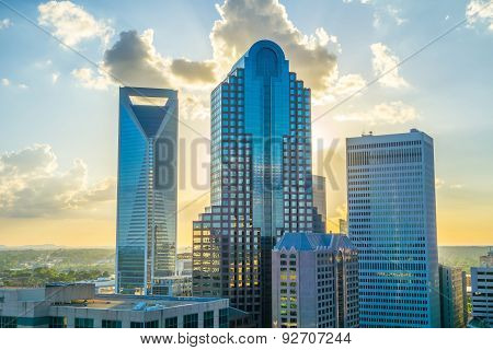 Sunset Over Charlotte City Skyline Of North Carolina