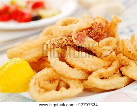 Fried Squid In A Greek Restaurant