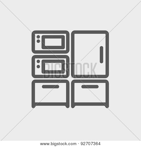 Home kitchen oven and microwave icon thin line for web and mobile, modern minimalistic flat design. Vector dark grey icon on light grey background.