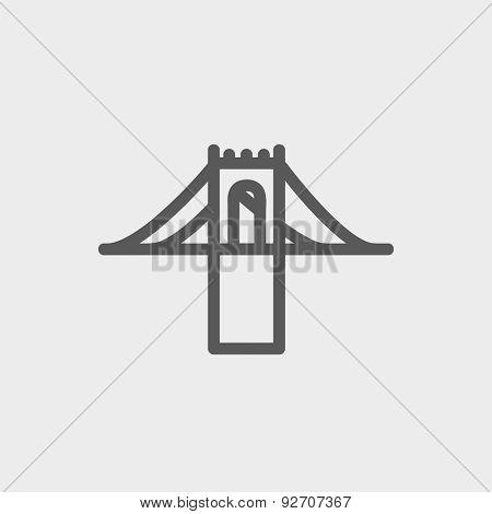 Bridge icon thin line for web and mobile, modern minimalistic flat design. Vector dark grey icon on light grey background.