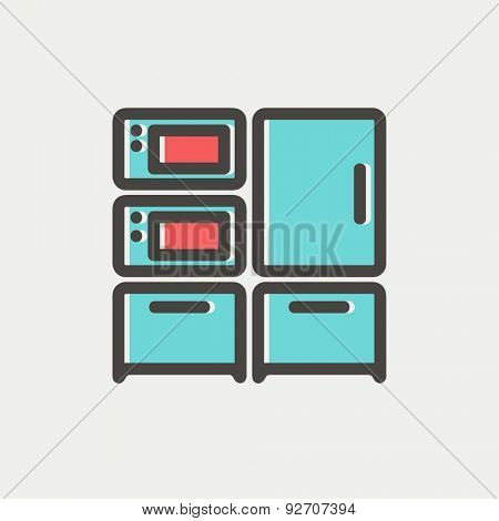 Home kitchen oven and microwave icon thin line for web and mobile, modern minimalistic flat design. Vector icon with dark grey outline and offset colour on light grey background.