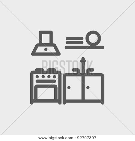 Kitchen interior icon thin line for web and mobile, modern minimalistic flat design. Vector dark grey icon on light grey background.