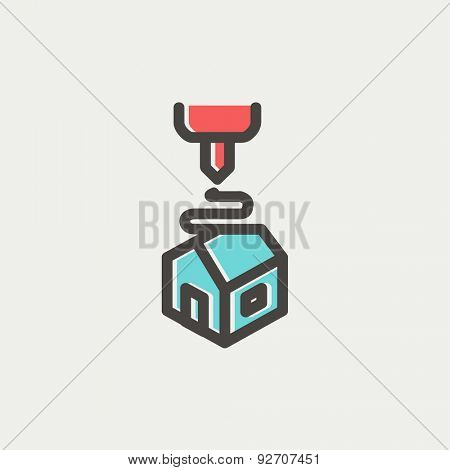 Futuristic 3D printer icon thin line for web and mobile, modern minimalistic flat design. Vector icon with dark grey outline and offset colour on light grey background.