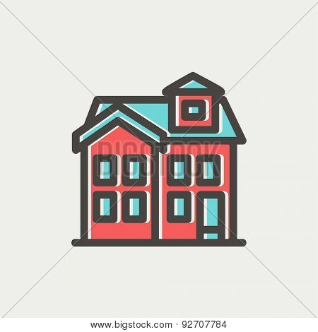 House with chimney icon thin line for web and mobile, modern minimalistic flat design. Vector icon with dark grey outline and offset colour on light grey background.