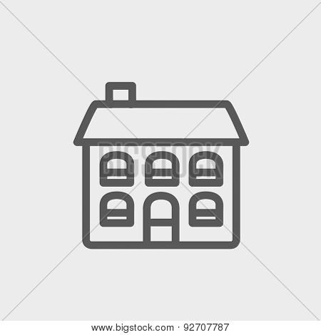 Retro flat house icon thin line for web and mobile, modern minimalistic flat design. Vector dark grey icon on light grey background.