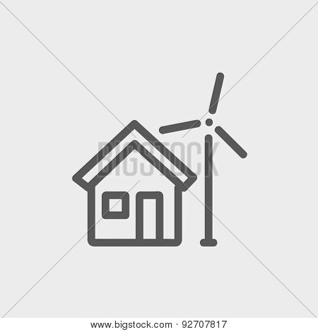 House and windmill icon thin line for web and mobile, modern minimalistic flat design. Vector dark grey icon on light grey background.