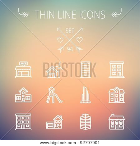Construction thin line icon set for web and mobile. Set includes -house, playhouse, house with garage, buildings, shop store. Modern minimalistic flat design. Vector white icon on gradient  mesh