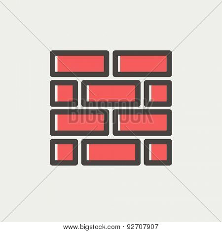 Bricks icon thin line for web and mobile, modern minimalistic flat design. Vector icon with dark grey outline and offset colour on light grey background.