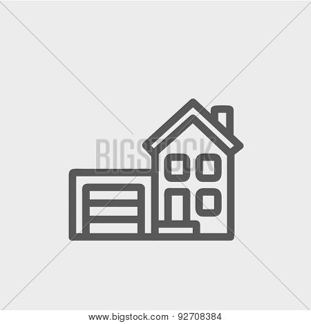 Home and garage icon thin line for web and mobile, modern minimalistic flat design. Vector dark grey icon on light grey background.