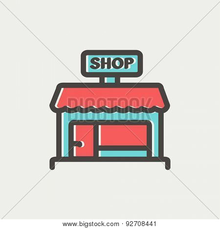 Shop store icon thin line for web and mobile, modern minimalistic flat design. Vector icon with dark grey outline and offset colour on light grey background.