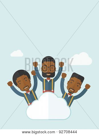 Three businessmen on top of the cloud raising their arms shows that they are happy for their success in business. A contemporary style with pastel palette soft blue tinted background with desaturateds