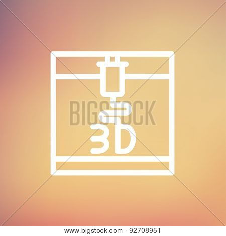 3D printer icon thin line for web and mobile, modern minimalistic flat design. Vector white icon on gradient mesh background.