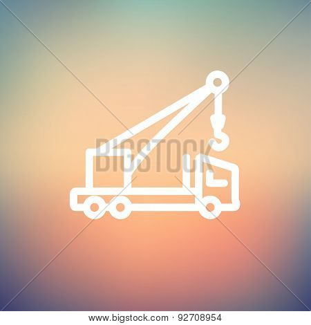 Tow truck icon thin line for web and mobile, modern minimalistic flat design. Vector white icon on gradient mesh background.