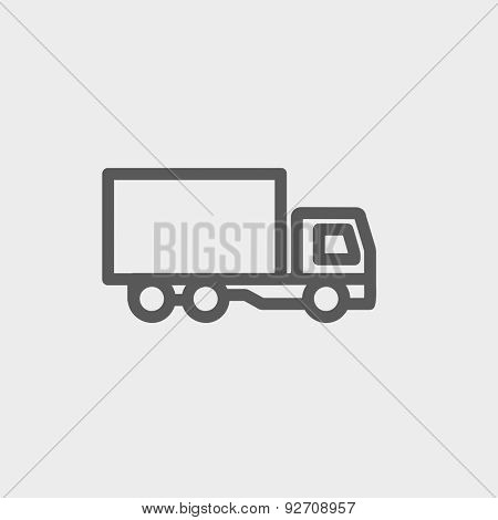Delivery truck icon thin line for web and mobile, modern minimalistic flat design. Vector dark grey icon on light grey background.