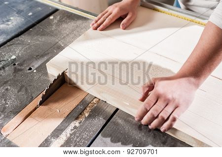 Carpenter hands working
