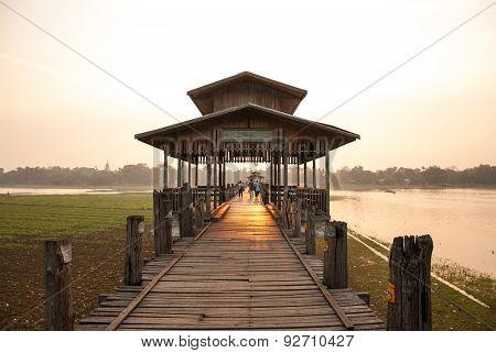 Ubein Bridge At Mandalay, Myanmar