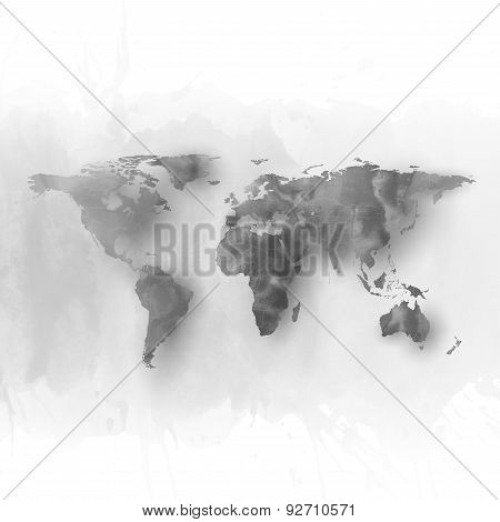 World map element, abstract hand drawn watercolor gray background, great composition for your design