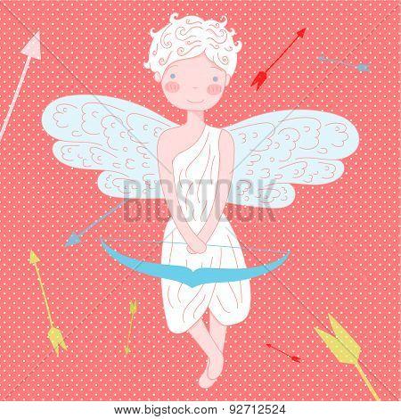 Funny little cupid Illustration  Vector on polka dot background