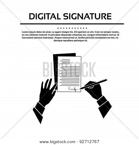 Business Man Document Signature Black Hands Silhouette Signing Up Contract