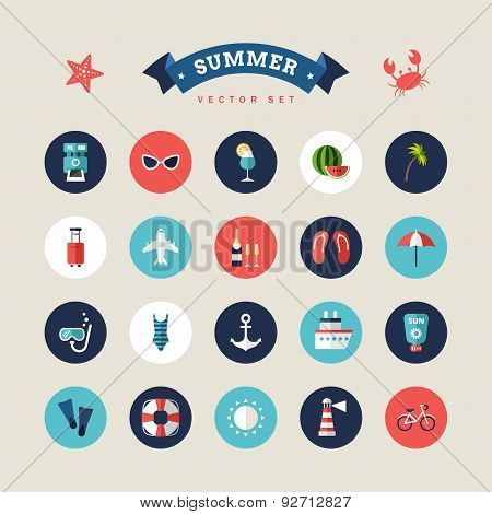 Summer Holidays Vector Icon Set. Flat Design Vector Colorful Illustration