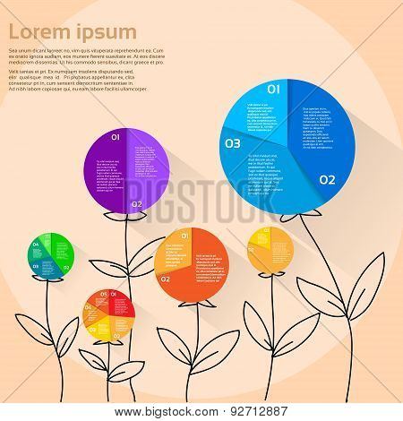 Finance Pie Diagram Flower Hand Draw Infographic Document