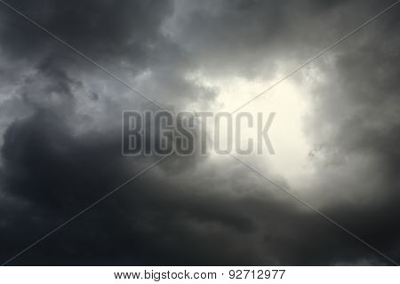 Lighting In The Dark Thunderstorm Clouds