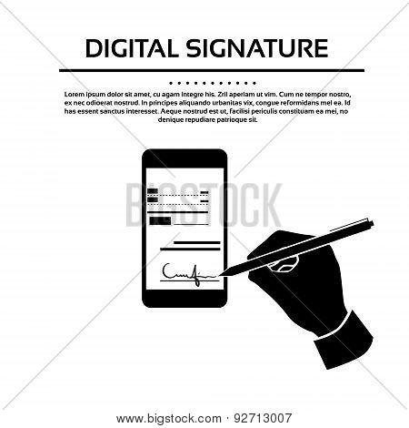 Digital Signature Smart Cell Phone Businessman Black Hands Silhouette Sign