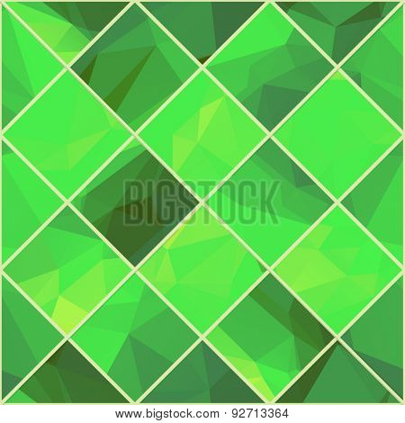 Abstract Geometric colorful background. Light green polygonal pattern. Vector mosaic