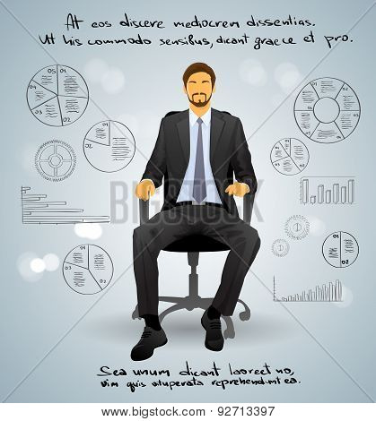 Businessman Executive Sitting Chair over Gray Finance