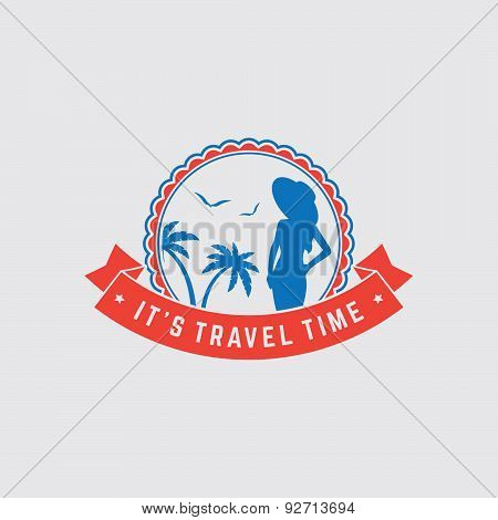 Retro Summer Vintage Label On Colorful Background. Tropical Paradise, Beach Vacation, Adventure And
