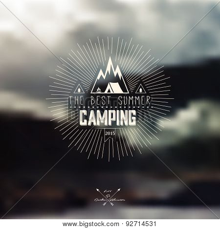 Vector Blurred Landscape Background With Summer Camping Badge