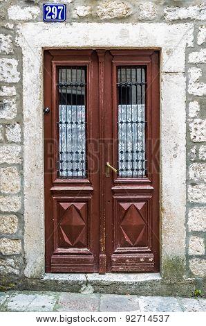 Brown Wooden Door In Old House