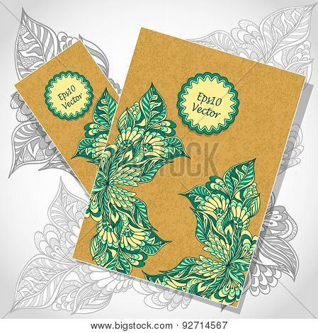Template flyer and   visit card with doodle flowers