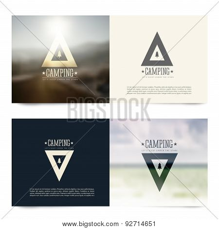 Vector Horizontal Banners With Camping Emblems