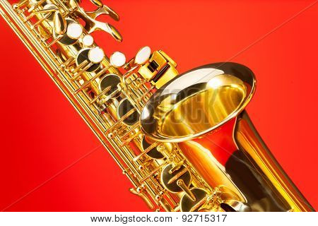 Fragment view of alto saxophone with bell and keys