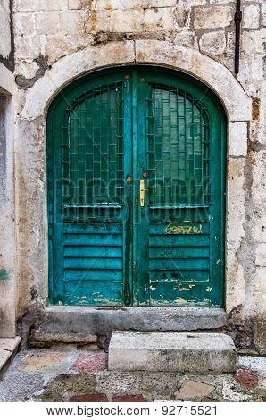 Wooden Door In Old House