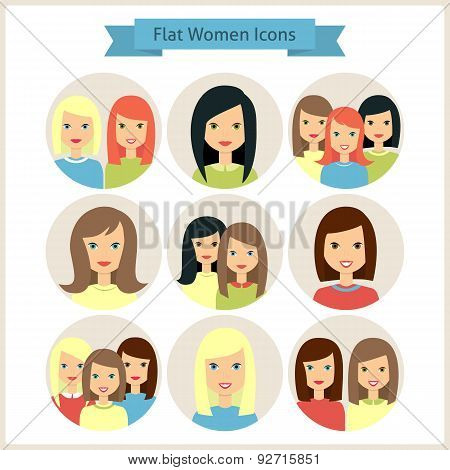 Women Characters Flat Circle Icons Set