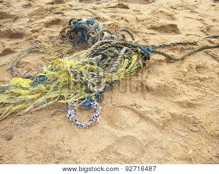 Fisher Rope Stranded At The Beach