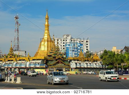 Traffic In Downtown Yangon, Myanmar