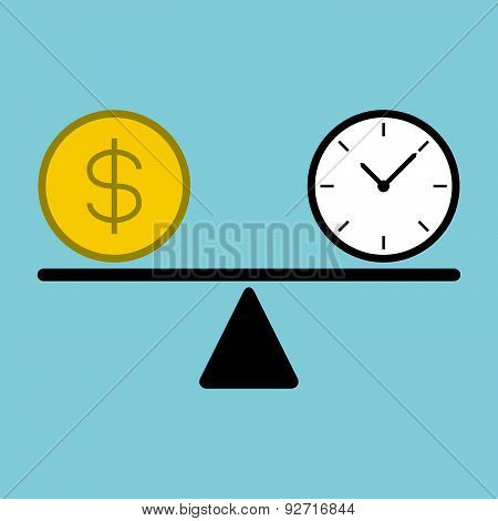 Time And Money Coin On Scale