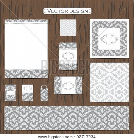 Set of eleven decorative ornamental  business cards on a background. Vector