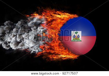 Flag With A Trail Of Fire And Smoke - Haiti