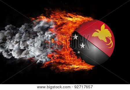 Flag With A Trail Of Fire And Smoke - Papua New Guinea