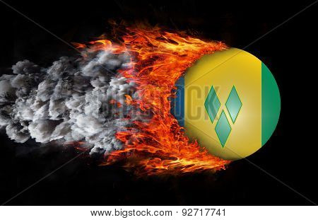 Flag With A Trail Of Fire And Smoke - Saint Vincent And The Grenadines