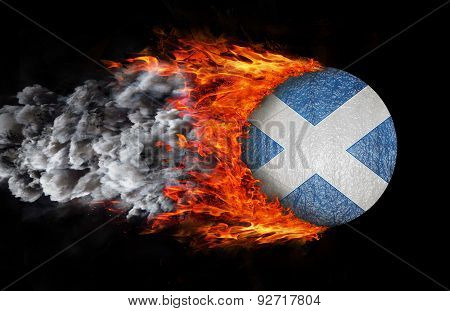 Flag With A Trail Of Fire And Smoke - Scotland