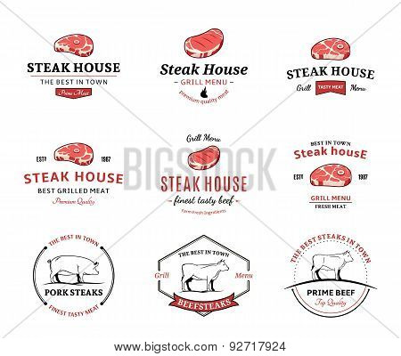 Grill Steak  Labels, and Design Elements. Steaks for BBQ and Grill Steakhouse Labels
