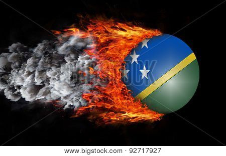 Flag With A Trail Of Fire And Smoke - Solomon Islands