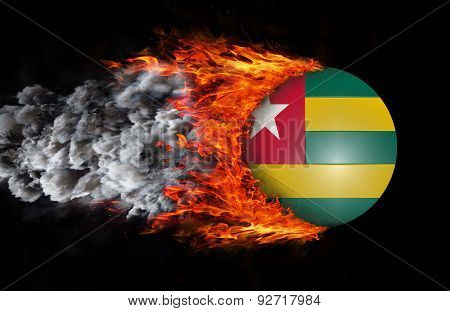 Flag With A Trail Of Fire And Smoke - Togo